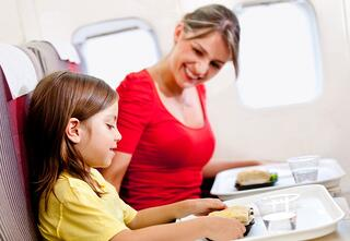 Mother and daughter flying on a plane for Spring Break