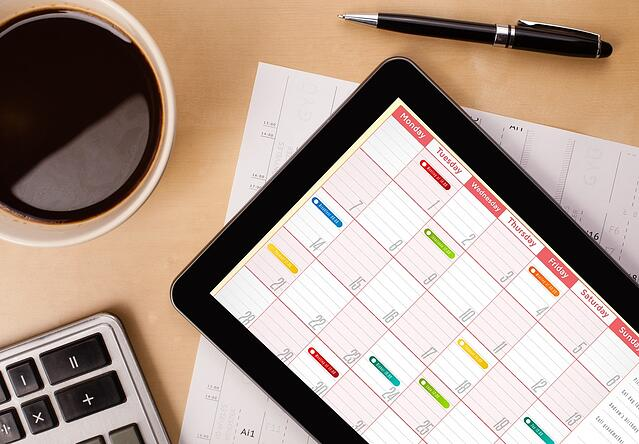 Calendar on a tablet for making plans in Topeka